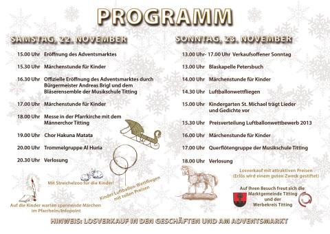 Programm Adventsmarkt